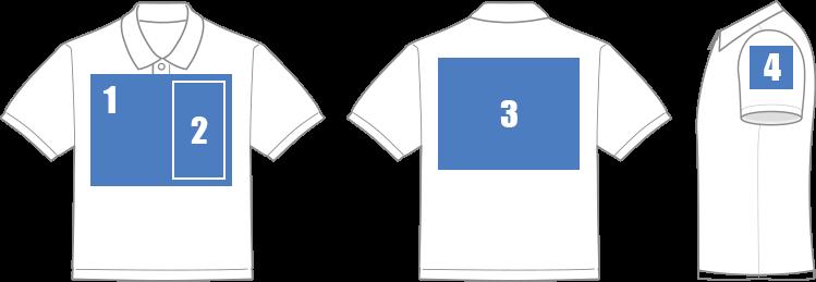 ポロシャツ印刷範囲のイメージ