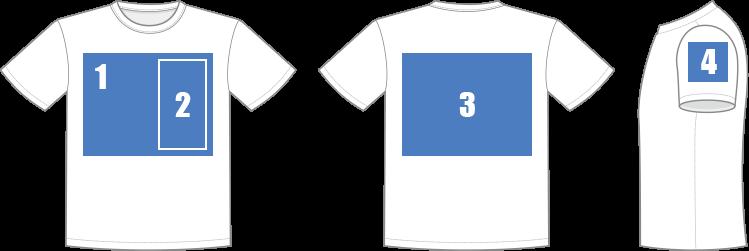 Tシャツ印刷範囲のイメージ